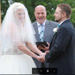 Austin officiant with bride and groom in Fredericksburg