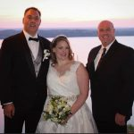 Couple and Austin Wedding Officiant at the Oasis