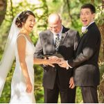 Happy Bride and Groom during ceremony with Austin Officiant