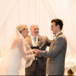Austin officiant and happy couple at altar