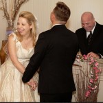 Austin wedding officiant and couple laughing during ceremony