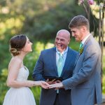 Austin wedding officiant and couple at Kindred Oaks