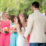 Austin officiant and couple laughing at wedding