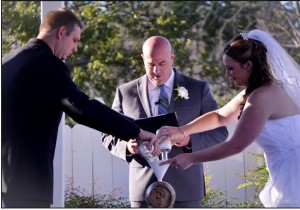 Whiskey Barrel Unity Ceremony Austin Wedding Officiant bride and groom