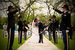 Military Wedding Saber Arch ceremony at Chateau on the Creek Round Rock