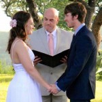 Wedding officiant groom and bride and hacienda del lago