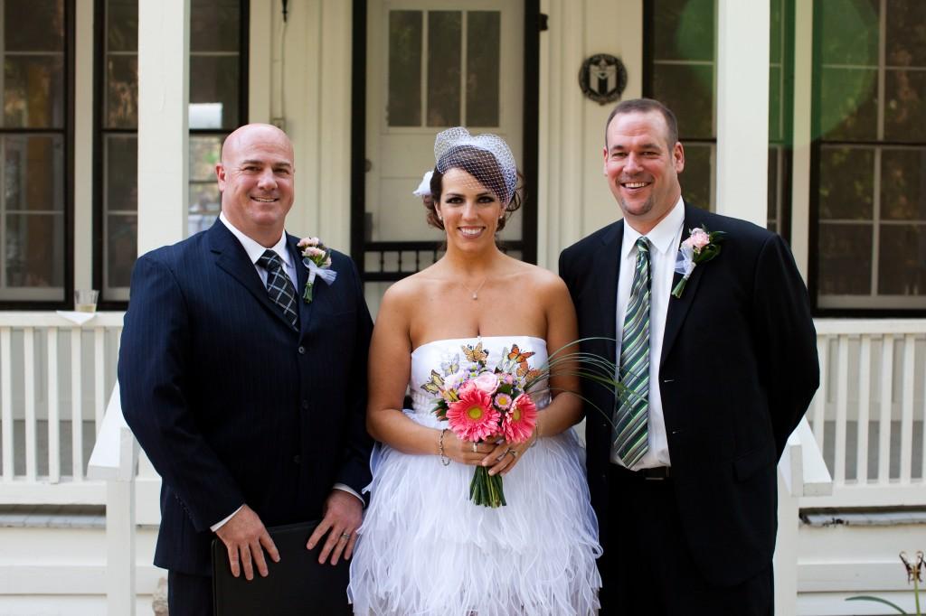 Lago Vista outdoor Wedding Ceremony, officiant, bride and groom