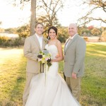 Pecan Springs Ranch Bride Groom Officiant after the wedding