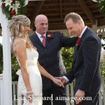 Round Rock wedding ceremony at Chateau on the Creek, officiant and couple