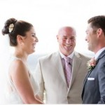 Austin wedding officiant and couple at the Oasis